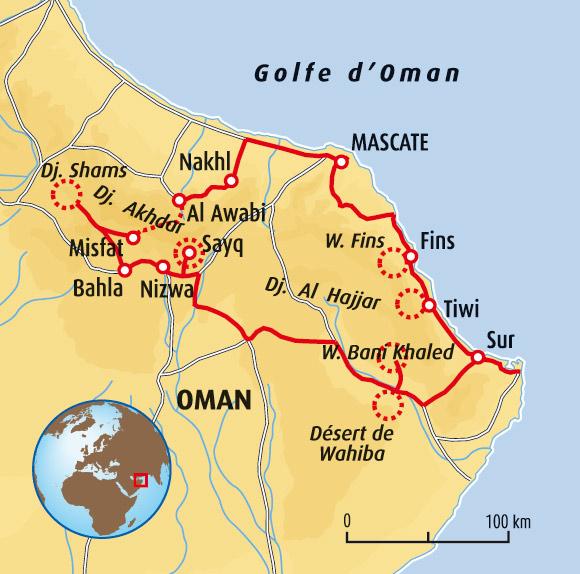 Oman carte touristique for Carte touristique